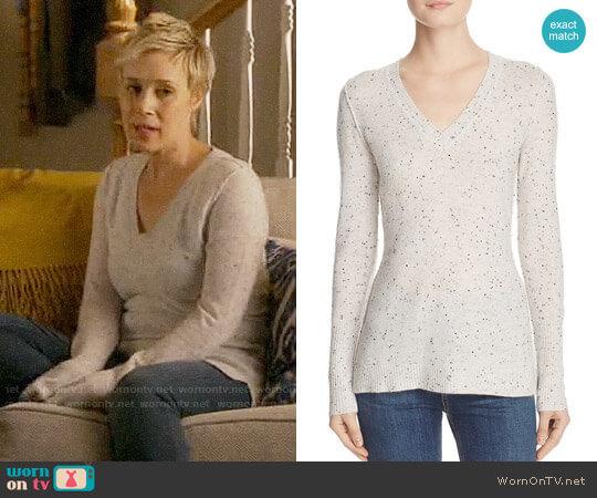 Aqua V-Neck Cashmere Sweater in Ash Nep worn by Liza Weil on HTGAWM