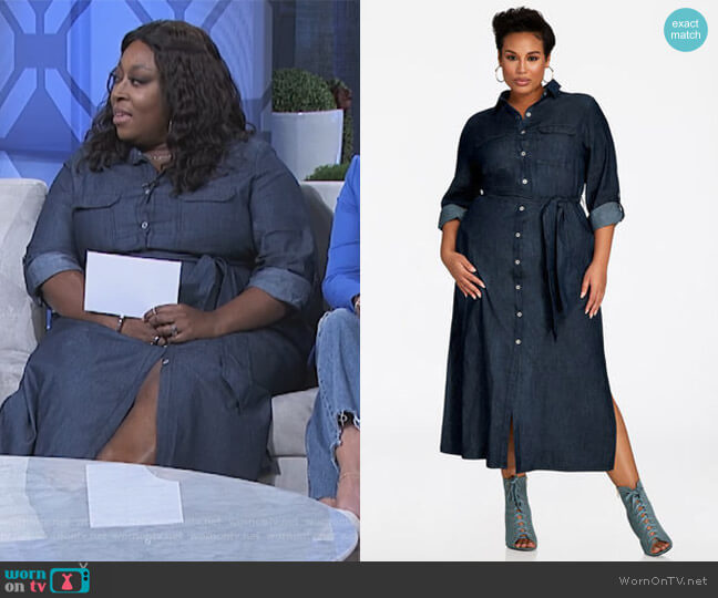Button Front Denim Maxi Dress by Ashley Stewart worn by Loni Love  on The Real