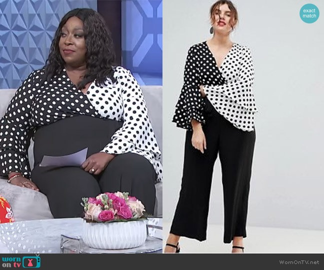 Plus Polka Dot Frill Sleeve Jumpsuit by River Island worn by Loni Love  on The Real