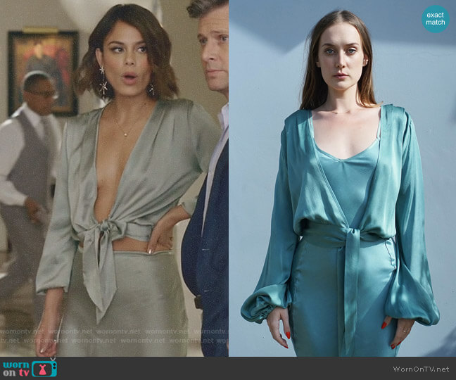 Wind Green Two Tie Blouse by Awaveawake worn by Cristal Flores (Nathalie Kelley) on Dynasty