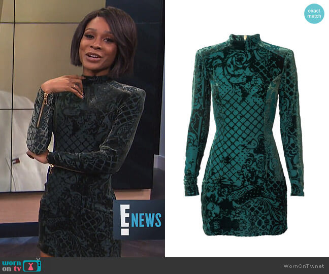 Velvet Dress by Balmain x H&M worn by Zuri Hall (Zuri Hall) on E! News