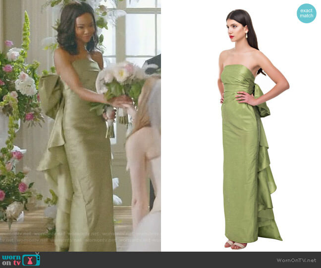 Olive Back Bow Pencil Gown by Bambah worn by Monica Colby (Wakeema Hollis) on Dynasty
