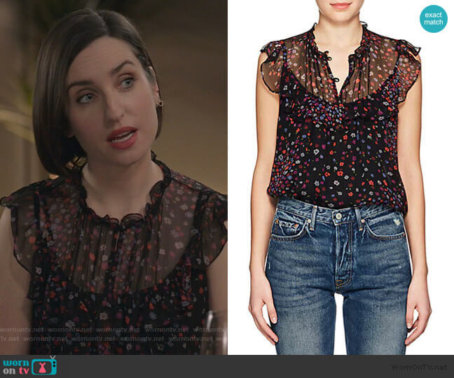 WornOnTV: Jen's black floral print ruffle sleeve top on Life