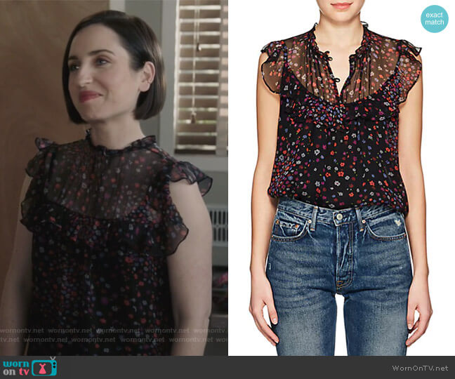 Floral Silk Georgette Blouse by Barneys New York worn by Zoe Lister-Jones on Life in Pieces