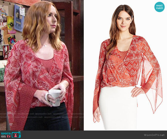 Bcbgmaxazria Nickelette Top worn by Camryn Grimes on The Young & the Restless
