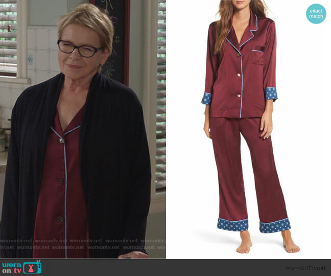 Pinstripe Crop Pajamas by Bed to Brunch worn by Joan Short (Dianne Wiest) on Life in Pieces