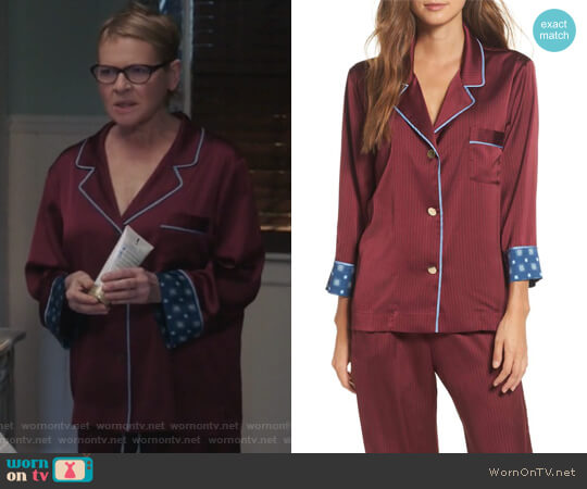 Pinstripe Crop Pajamas by Bed to Brunch worn by Dianne Wiest on Life in Pieces
