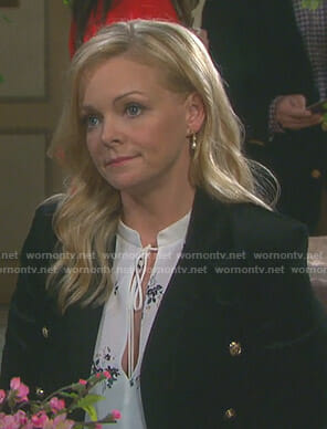 Belle's white floral tie neck blouse on Days of our Lives