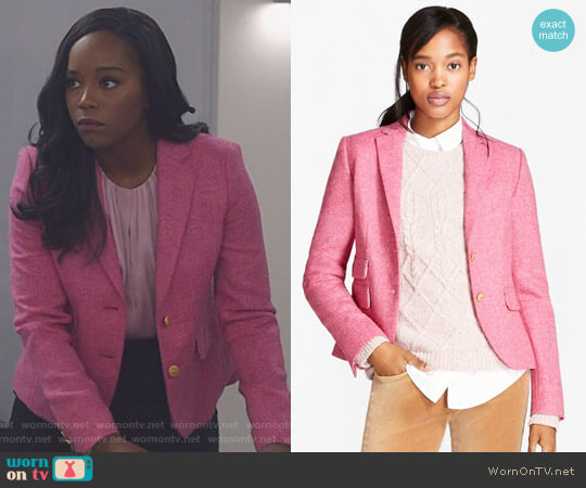 Wool Tweed Jacket by Brooks Brothers worn by Aja Naomi King worn by Michaela Pratt (Aja Naomi King) on Scandal