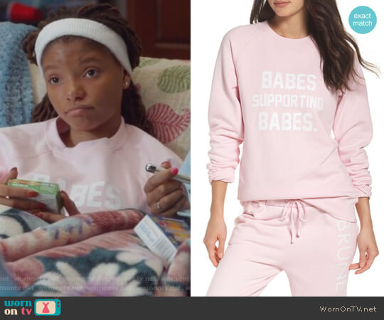 Babes Supporting Babes Sweatshirt by Brunette The Label worn by Skylar Forster (Halle Bailey) on Grown-ish