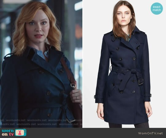 Bramington Cotton Blend Trench Coat by Burberry worn by Christina Hendricks on Good Girls