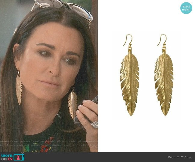 Large Gold Feather Earrings by CC Skye worn by Kyle Richards  on The Real Housewives of Beverly Hills