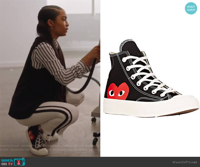 Women's Chuck Taylor 1970s High-Top Sneakers by Comme Des Garcons PLAY worn by Zoey Johnson (Yara Shahidi) on Grown-ish