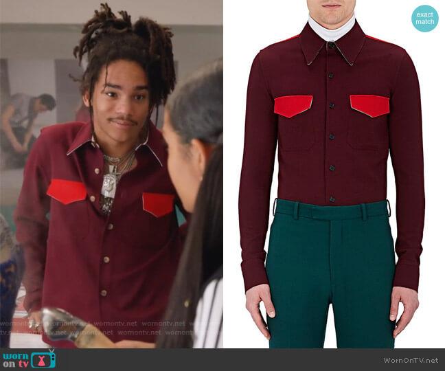 Contrast-Detailed Wool Shirt by Calvin Klein worn by Luka Hall (Luka Sabbat) on Grown-ish