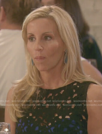 Camille's black lace dress with cutouts on The Real Housewives of Beverly Hills