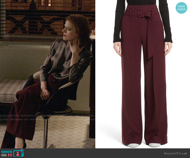 Theory Camogie High Waist Belted Pants worn by Rose Leslie on The Good Fight