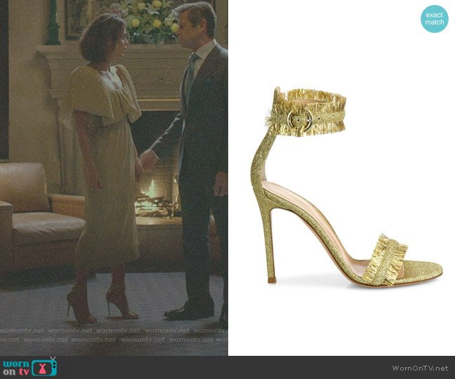 'Caribe' Tinsel Ankle-Strap Sandals by Gianvito Rossi worn by Cristal Flores (Nathalie Kelley) on Dynasty
