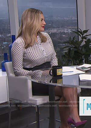 Carissa's white polka dot blouse and denim skirt on E! News Daily Pop