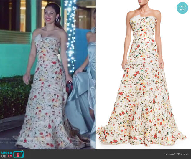 Strapless Layered Floral-Print Gown by Carolina Herrera worn by Francia Raisa on Grown-ish