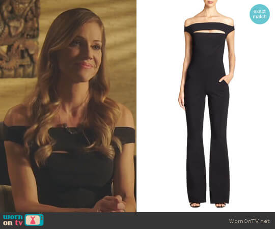 'Rebecca' Off-The-Shoulder Jumpsuit by Chiara Boni La Petite Robe worn by Charlotte Richards (Tricia Helfer) on Lucifer