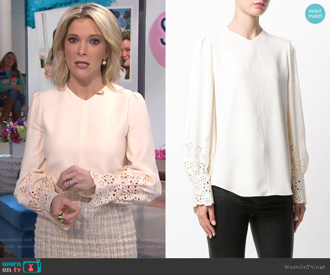 laser cut sleeve blouse by Chloe worn by Megyn Kelly  on Today