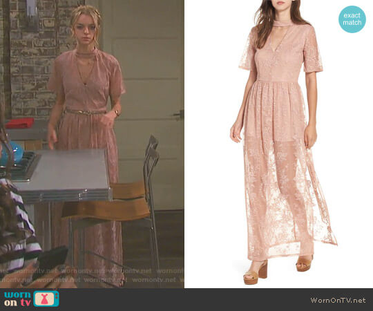 Choker Lace Maxi Romper by Socialite worn by Olivia Rose Keegan on Days of our Lives