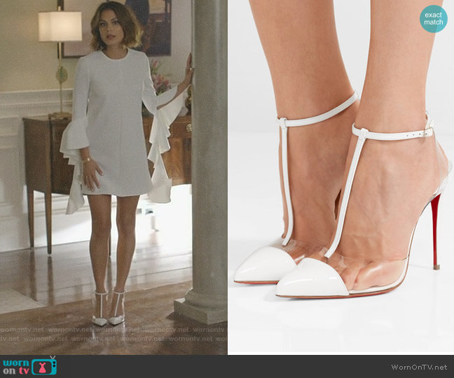 'Nosy' Pumps by Christian Louboutin worn by Cristal Flores (Nathalie Kelley) on Dynasty