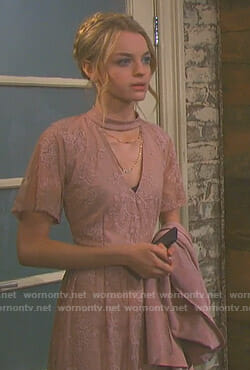 Claire's pink choker neck maxi dress on Days of our Lives