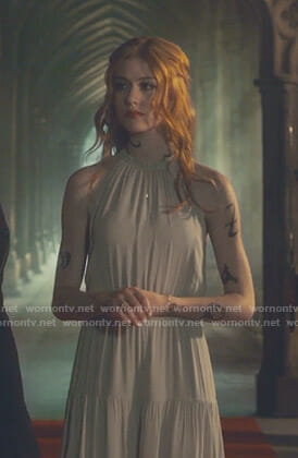 Clary's grey gathered halter neck dress on Shadowhunters