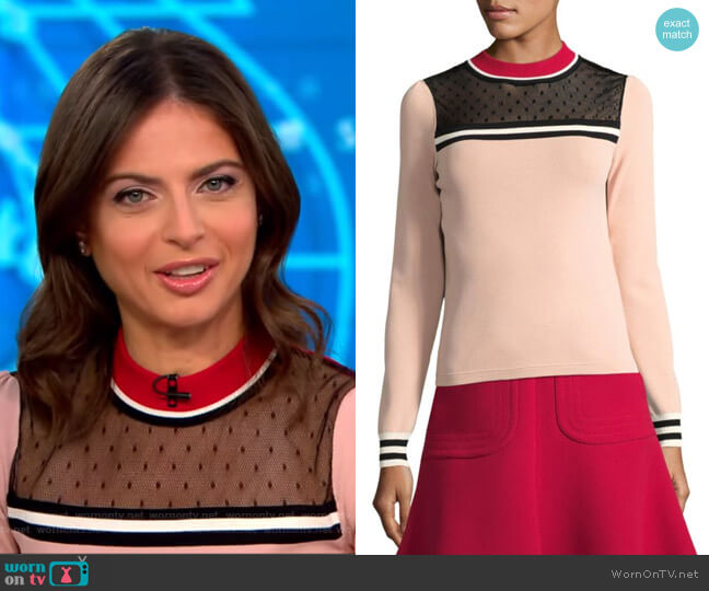 Colorblock Top by RED Valentino worn by Bianna Golodryga (Bianna Golodryga) on CBS This Morning