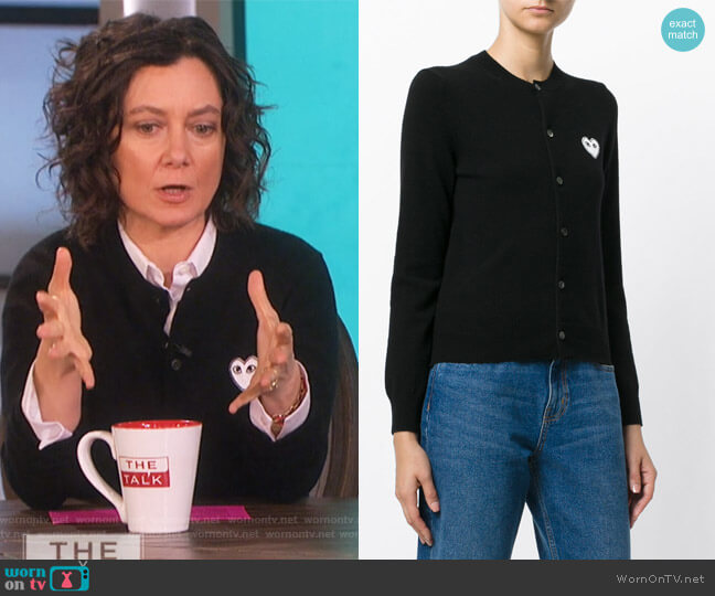 Heart Logo Cardigan by Comme Des Garcons Play worn by Sara Gilbert on The Talk
