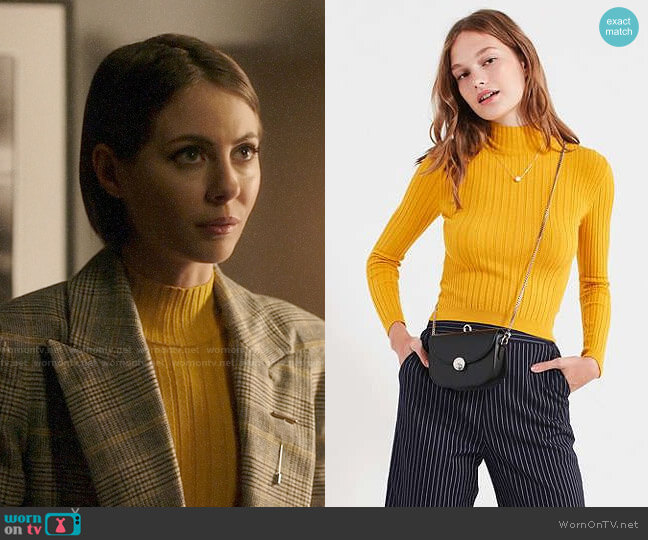 Cooperative Cindy Ribbed Mock-Neck Sweater worn by Willa Holland on Arrow