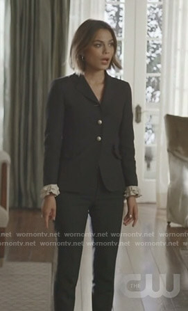 Cristal's black ruffled cuff blazer and pants on Dynasty