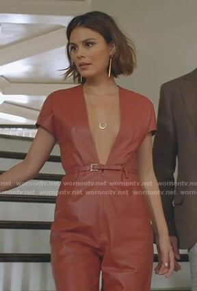 Cristal's brown leather plunge jumpsuit on Dynasty