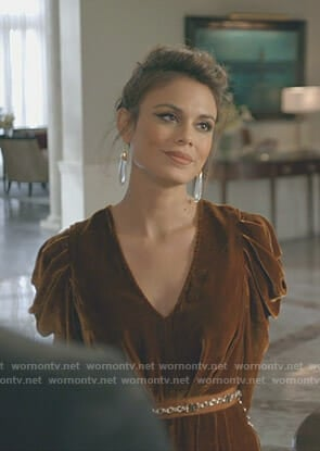 Cristal's brown velvet jumpsuit on Dynasty