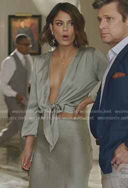 Cristal's satin tie front blouse and maxi skirt on Dynasty