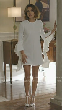 Cristal's white ruffled sleeve dress on Dynasty