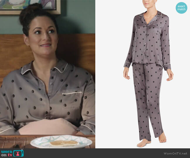 Contrast-Trim Printed Pajama Set by DKNY worn by Colleen Brandon-Ortega (Angelique Cabral) on Life in Pieces