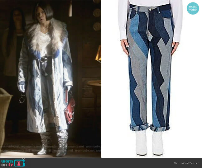 Pisco Patchwork Boyfriend Jeans by Dries Van Noten   worn by Taraji P. Henson on Empire