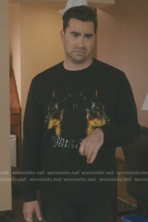 David's black doberman print sweatshirt on Schitt's Creek