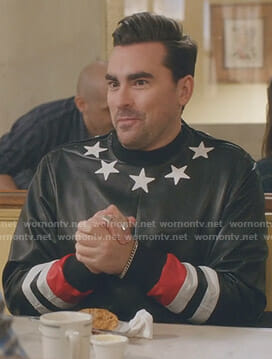 David's black star print leather sweatshirt on Schitt's Creek