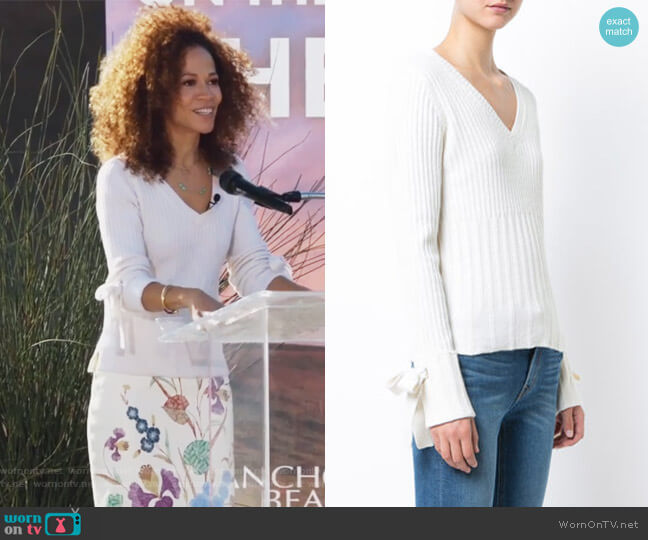 V-Neck Sweater with Tie Sleeve Detail by Derek Lam 10 Crosby worn by Sherri Saum on The Fosters