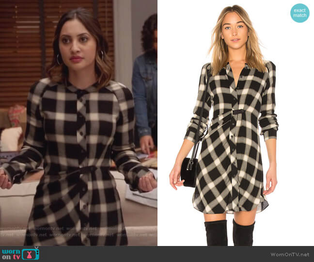 Plaid Button Down Dress by Derek Lam 10 Crosby worn by Francia Raisa on Grown-ish