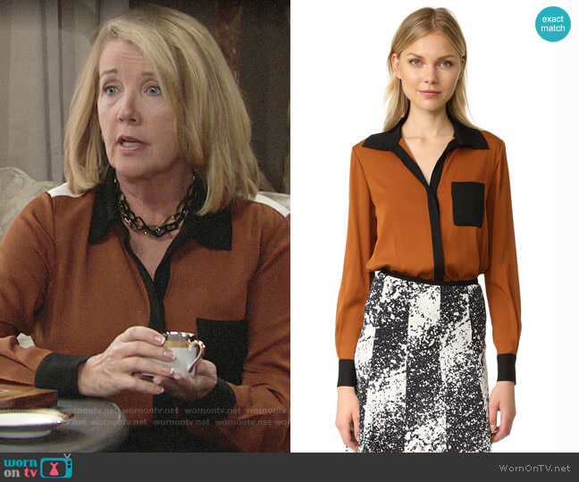 Diane von Furstenberg Carter Blouse in Copper worn by Nikki Reed Newman (Melody Thomas-Scott) on The Young & the Restless