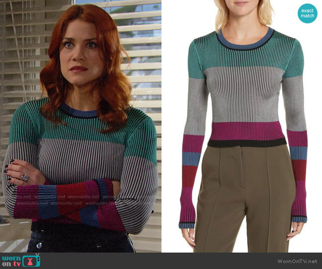 Diane von Furstenberg Cropped Plaited Pullover worn by Courtney Hope on The Bold & the Beautiful