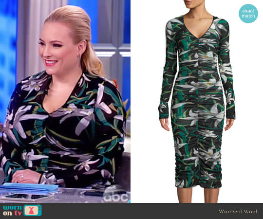 Camille mesh overlay midi dress by Diane von Furstenberg worn by Meghan McCain on The View
