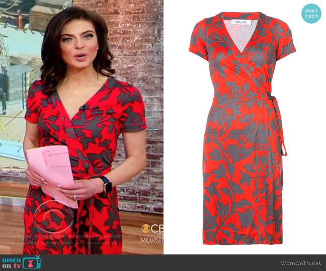 Julian short-sleeve wrap dress by Diane von Furstenberg worn by Bianna Golodryga on CBS This Morning