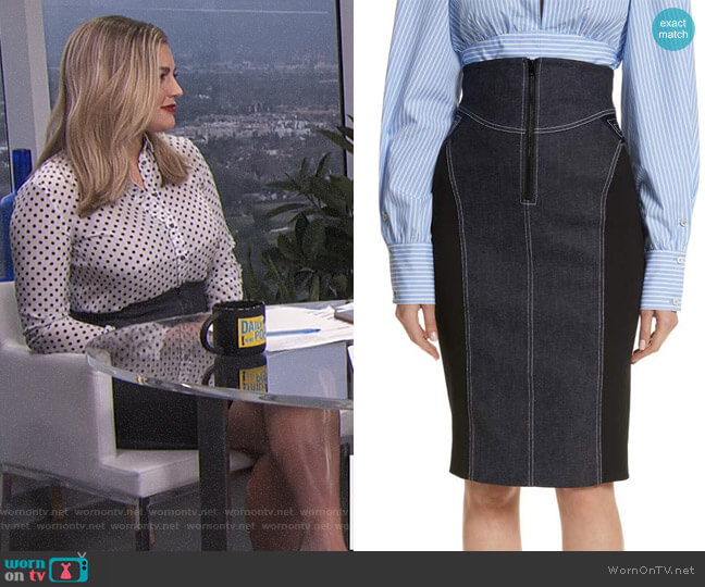 Denim Pencil Skirt by Diane von Furstenberg worn by Carissa Loethen Culiner on E! News