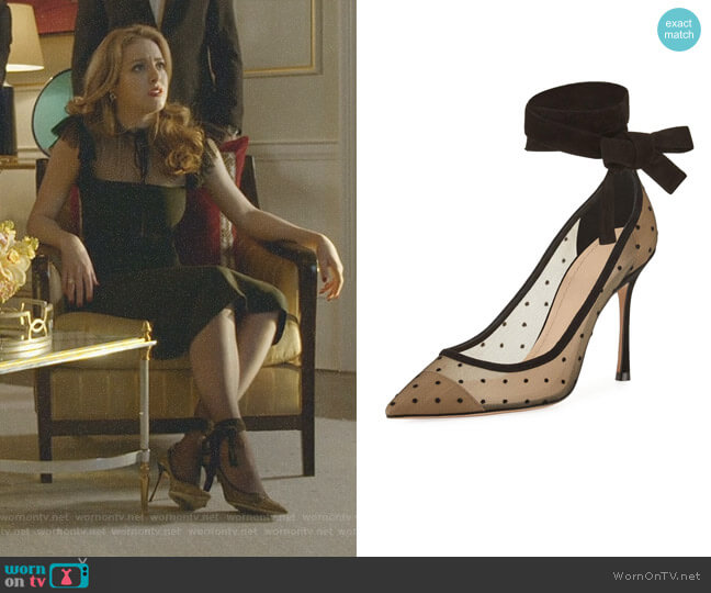 Lovely- D Plumetis Ankle-wrap Pump by Dior worn by Fallon Carrington (Elizabeth Gillies) on Dynasty