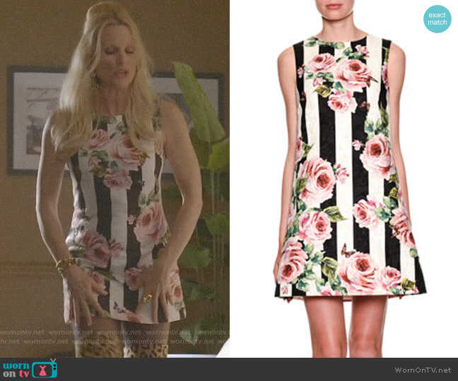 Sleeveless Floral Striped Brocade Dress by Dolce & Gabbana worn by Alexis Carrington (Elaine Hendrix) on Dynasty